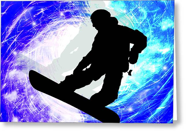 Snowboarder In Whiteout Greeting Card by Elaine Plesser