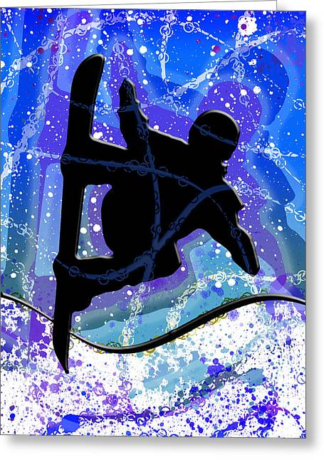 Freestyle Skiing Greeting Cards - Snowboarder Greeting Card by Stephen Younts