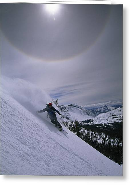 Model Release Greeting Cards - Snowboarding Down A Peak In Yosemite Greeting Card by Bill Hatcher
