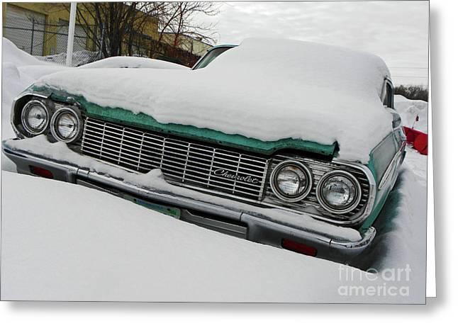 Car Grill Greeting Cards - Snowbound Chevy IV Greeting Card by Elizabeth Hoskinson