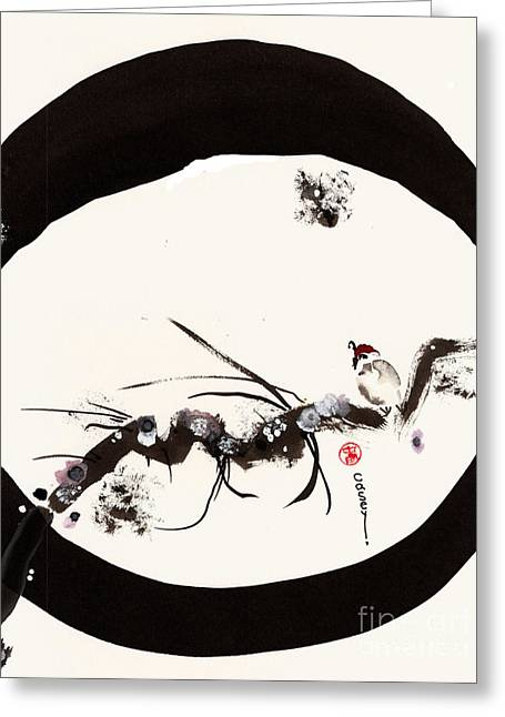 Sumi Greeting Cards - Snowdrops on a Quail Waiting Greeting Card by Casey Shannon