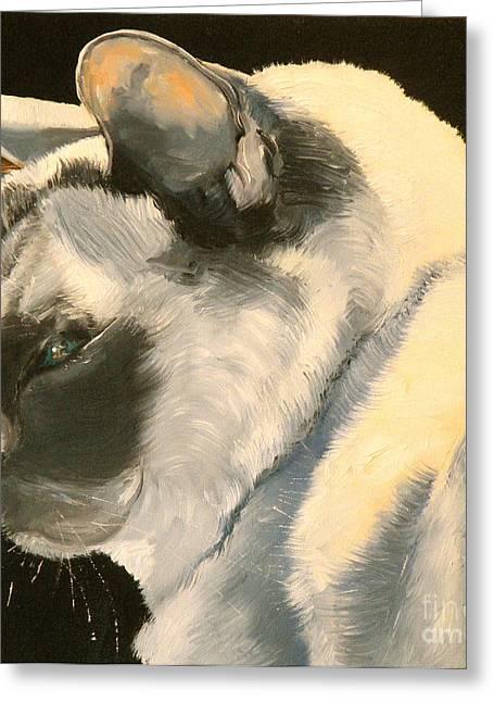 Siamese Cat Greeting Card Greeting Cards - Snowflake Buddha Greeting Card by Susan A Becker
