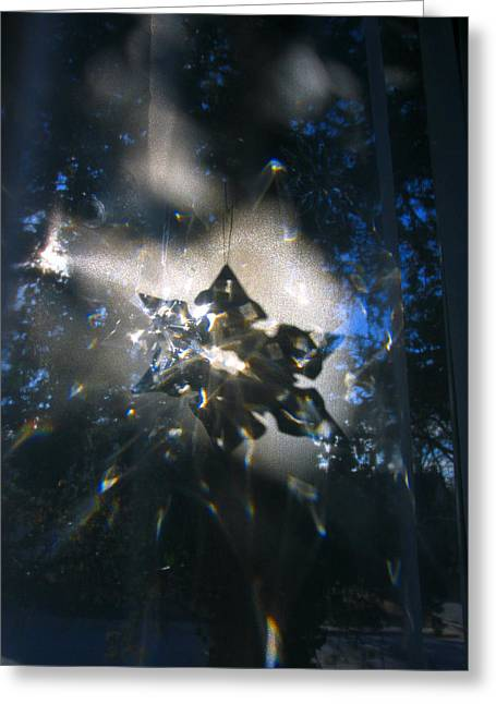 Dappled Light Greeting Cards - Snowflake Crystal Shadow Greeting Card by Adam Long