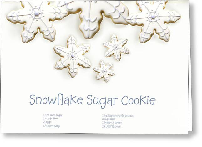 Snowflake sugar cookies with receipe  Greeting Card by Sandra Cunningham
