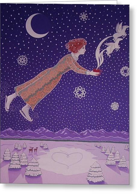 Pegasus Paintings Greeting Cards - Snowflight Greeting Card by Karen MacKenzie