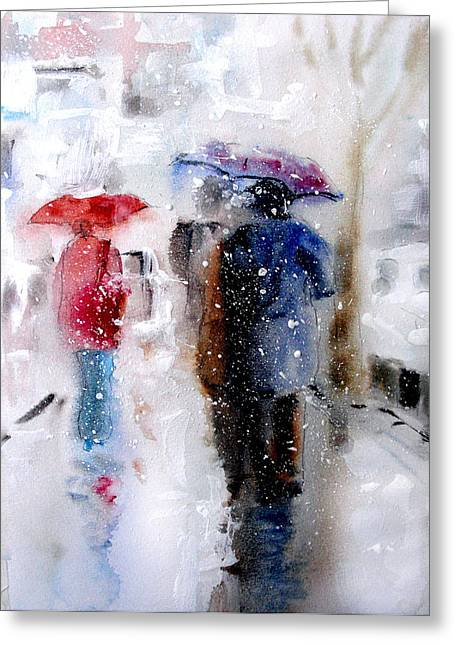 Eatoutdoors Greeting Cards - Snowing in the city Greeting Card by Steven Ponsford