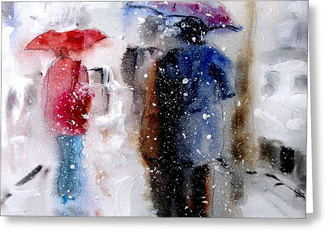 Snowing in the city Greeting Card by Steven Ponsford