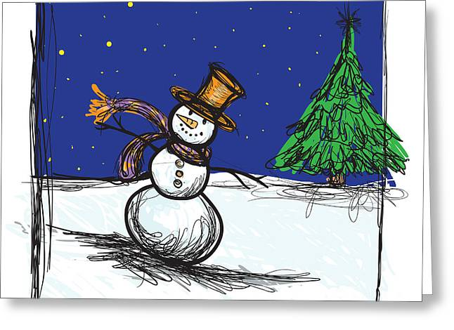 Snowman Greeting Cards - Snowman Greeting Card by HD Connelly