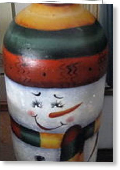 Wine-bottle Glass Greeting Cards - Snowman Jug Greeting Card by Fran Haas