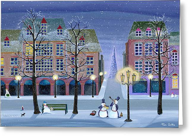 Christmas Art Greeting Cards - Snowman Street Musicians Greeting Card by Thomas Griffin
