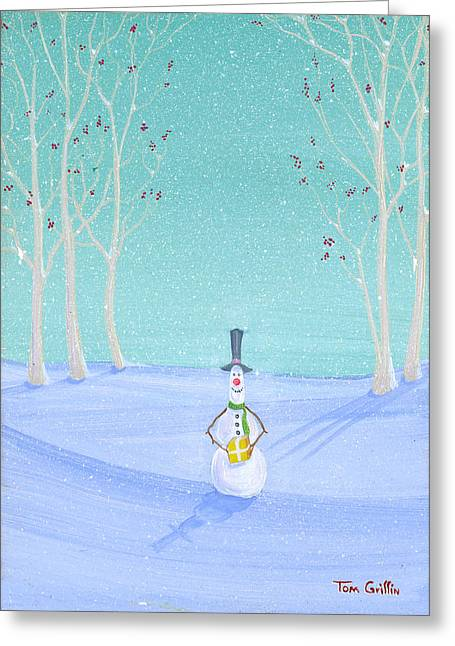 Winter Greeting Cards - Snowman With Gift Greeting Card by Thomas Griffin