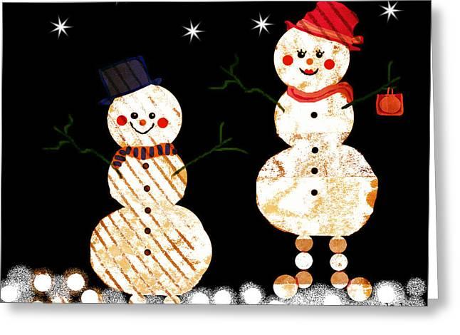 Snowball Mixed Media Greeting Cards - Snowmen and Snowballs Greeting Card by Jan Steadman-Jackson