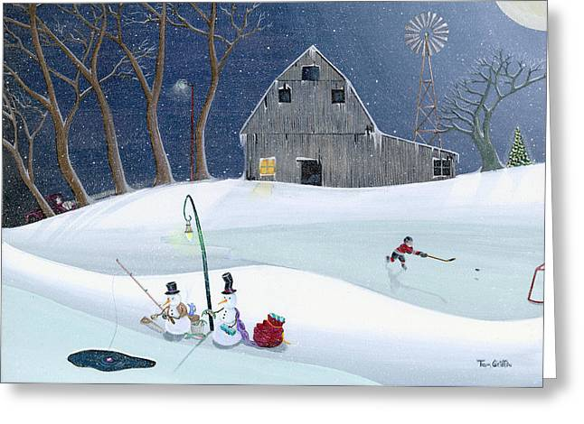 Winter Greeting Cards - Snowmen On Hockey Pond Greeting Card by Thomas Griffin
