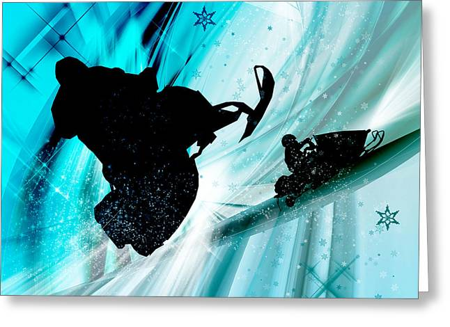 Tricks Greeting Cards - Snowmobiling on Icy Trails Greeting Card by Elaine Plesser