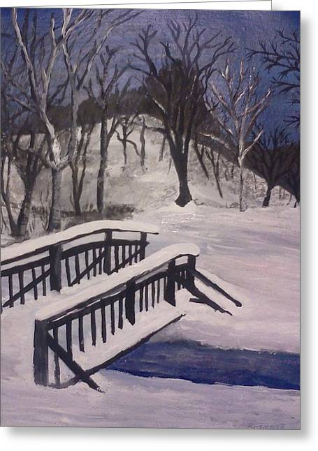 Snow Scence Greeting Cards - Snowstorm in Ohio Greeting Card by Christy Saunders Church