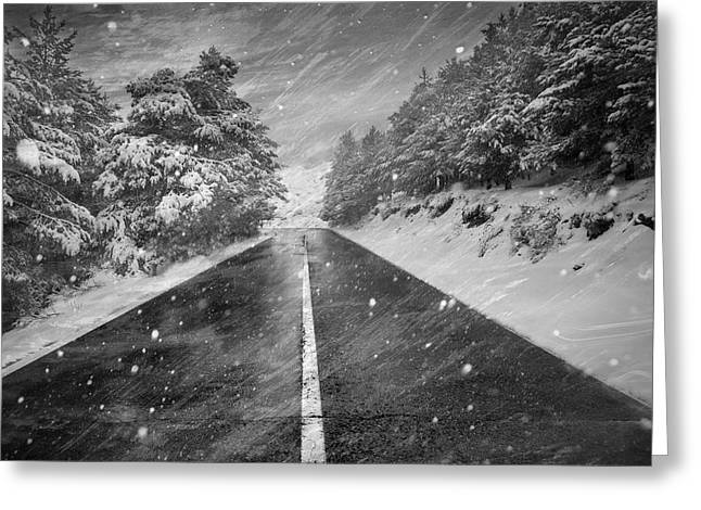 Mountain Road Greeting Cards - Snowstorm in the road Greeting Card by Guido Montanes Castillo