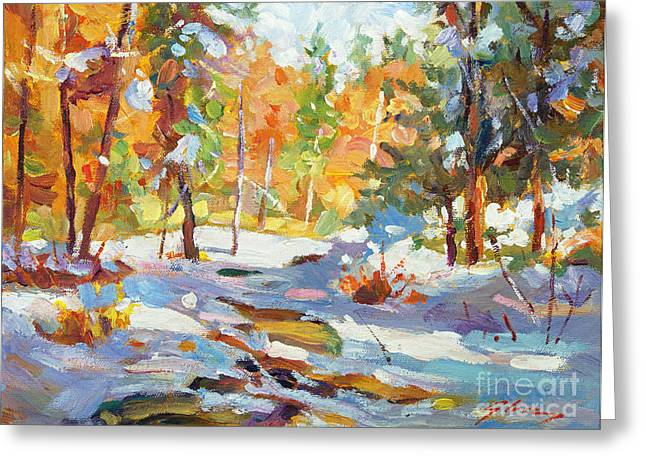 Most Paintings Greeting Cards - Snowy Autumn - plein air Greeting Card by David Lloyd Glover