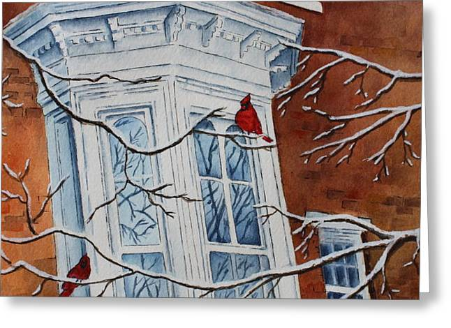 Snowy Bay Greeting Card by Patsy Sharpe
