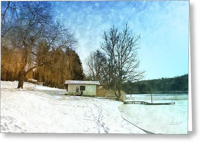 Willow Lake Digital Art Greeting Cards - Snowy Beach Greeting Card by Jutta Maria Pusl