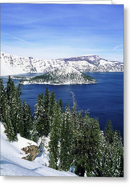 Snowy Day Greeting Cards - Snowy Crater Lake Greeting Card by Greg Vaughn - Printscapes