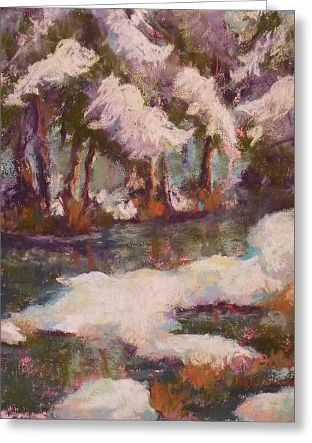 Creek Pastels Greeting Cards - Snowy Creek Greeting Card by Jo Ann Sullivan