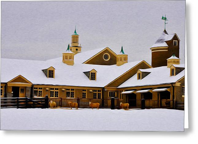 Snowy Day Greeting Cards - Snowy Day at Erdenheim Farm Greeting Card by Bill Cannon