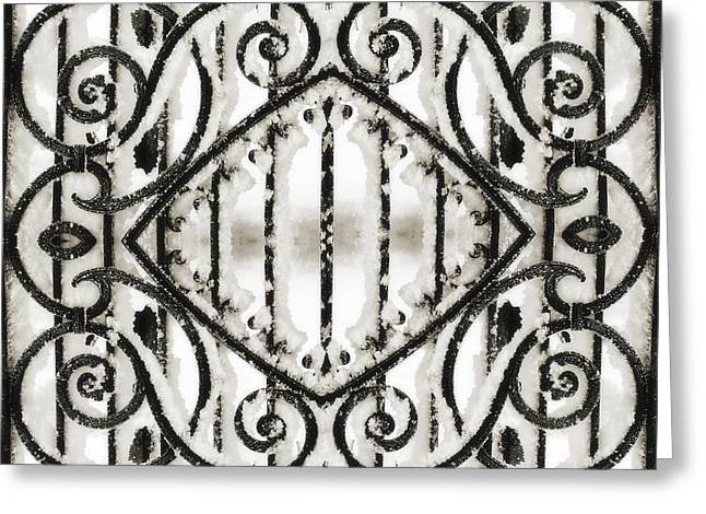 Wrought Iron Gate Greeting Cards - Snowy Forms Greeting Card by Ari Salmela