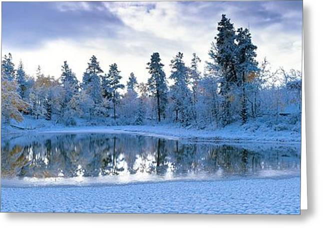 Reform Greeting Cards - Snowy Lake Greeting Card by David Nunuk