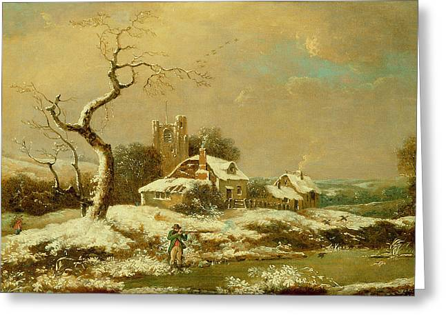 1751 Greeting Cards - Snowy landscape   Greeting Card by John Cranch