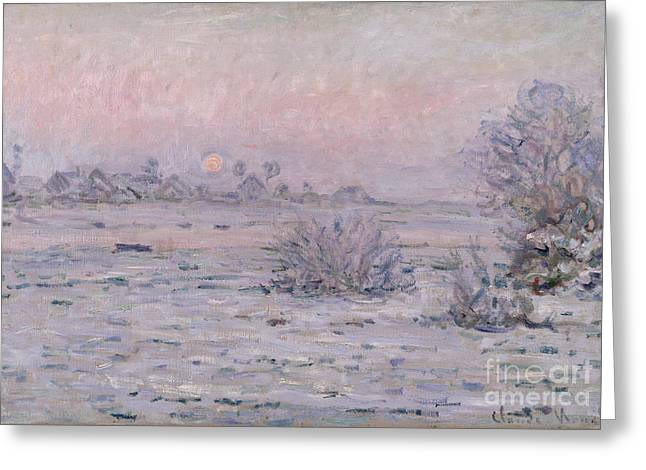 Winter Trees Greeting Cards - Snowy Landscape at Twilight Greeting Card by Claude Monet