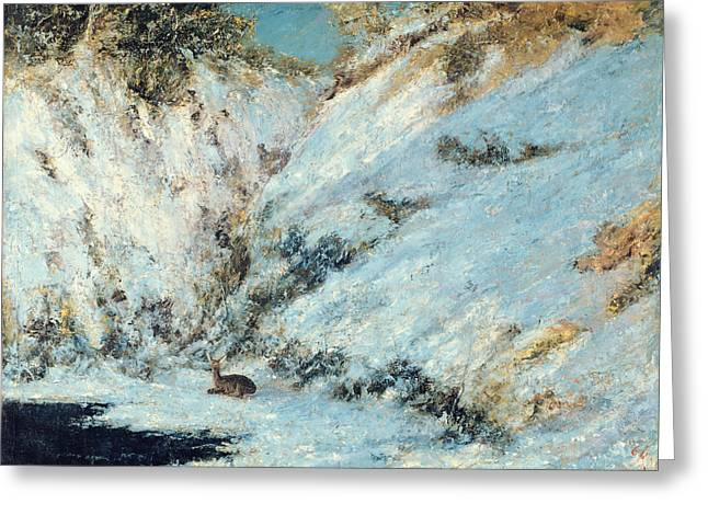 Gustave (1819-77) Greeting Cards - Snowy Landscape Greeting Card by Gustave Courbet