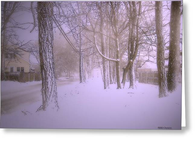 Mikki Cucuzzo Greeting Cards - Snowy Landscape Greeting Card by Mikki Cucuzzo