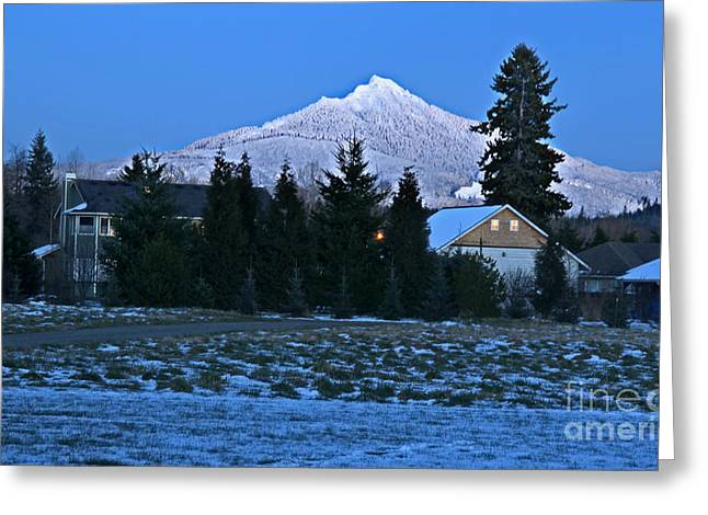 Snowy Evening Greeting Cards - Snowy Mountain at Dusk Mt Pilchuck Wash Greeting Card by Valerie Garner