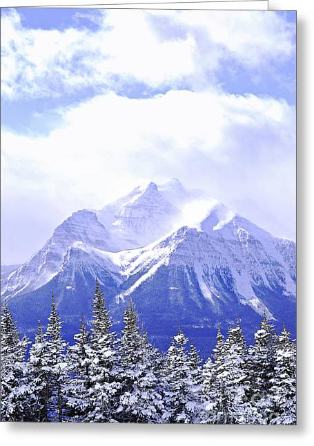 Wilderness Greeting Cards - Snowy mountain Greeting Card by Elena Elisseeva