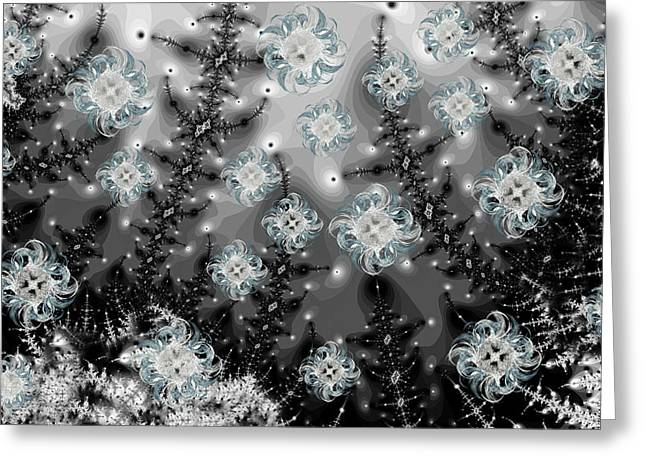 Snowy Night I Fractal Greeting Card by Betsy C  Knapp