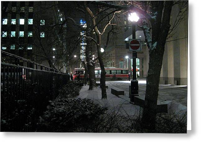Snowy Night Greeting Cards - snowy night in Toronto Greeting Card by Alfred Ng