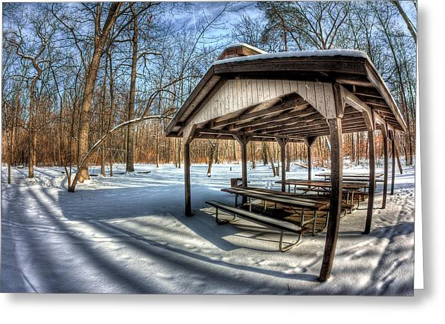 Ohio. Oh Greeting Cards - Snowy Picnic Greeting Card by Joshua Ball