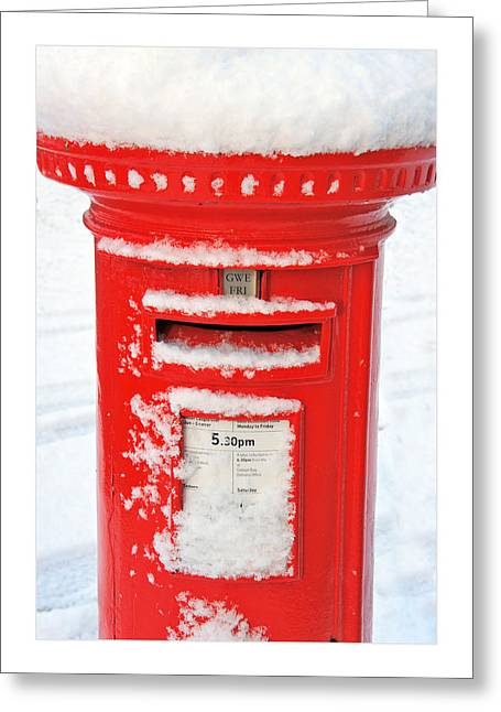 Pillar Box Greeting Cards - Snowy Pillar Box Greeting Card by Mal Bray