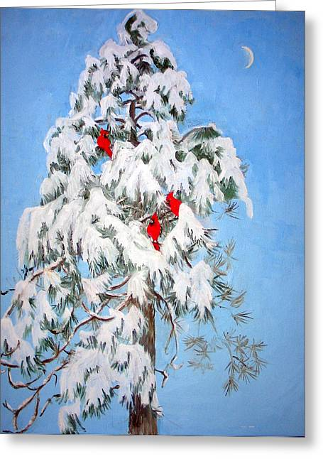 Snow And Trees Greeting Cards - Snowy Pine with Cardinals Greeting Card by Ethel Vrana