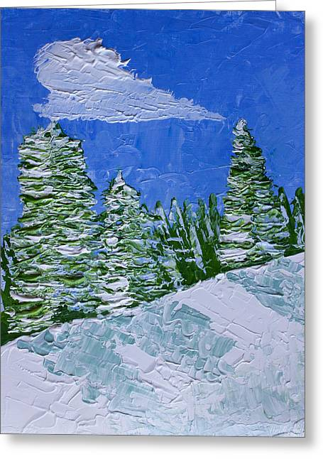 Scenic Buildings Drawings Greeting Cards - Snowy Pines Greeting Card by Heidi Smith