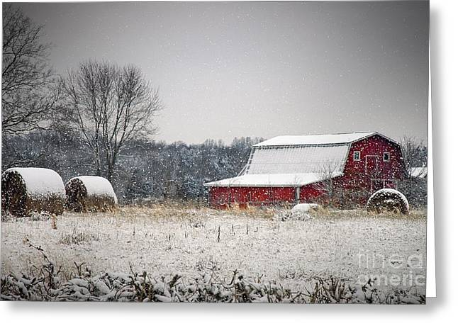 Tennessee Hay Bales Greeting Cards - Snowy Red Barn Greeting Card by Cheryl Davis