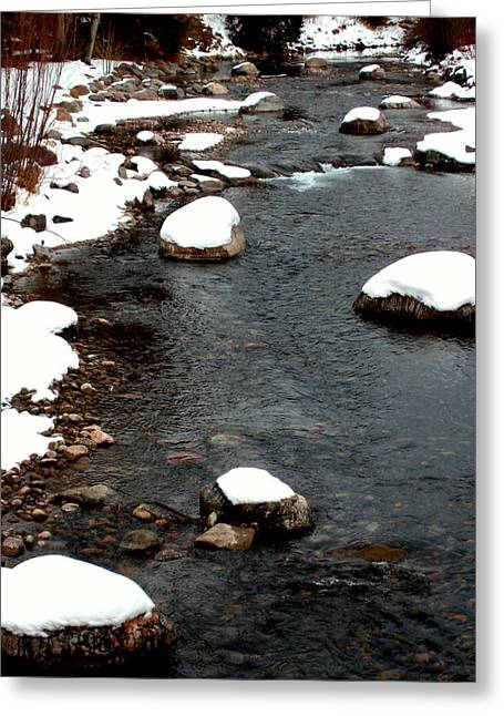 White As Snow Greeting Cards - Snowy River Greeting Card by The Forests Edge Photography - Diane Sandoval