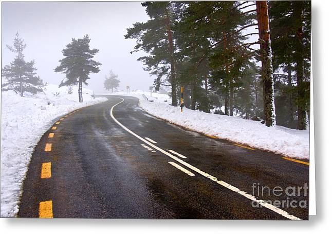 Asphalt Greeting Cards - Snowy road Greeting Card by Carlos Caetano