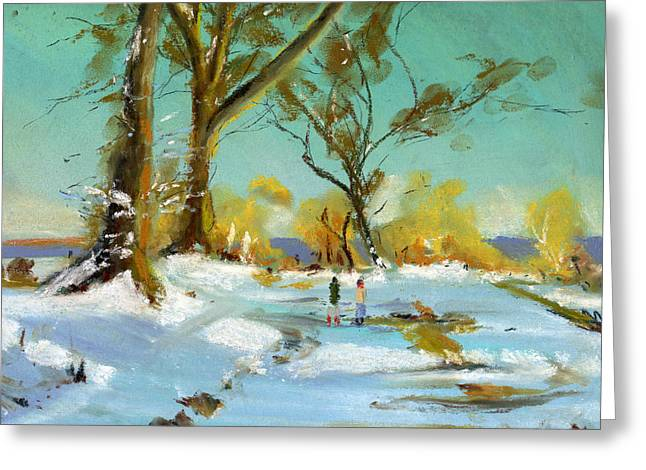Winter Park Pastels Greeting Cards - Snowy Scene Greeting Card by Paul Mitchell