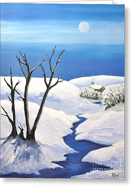 Snowy Night Night Greeting Cards - Snowy Scene Greeting Card by Reb Frost