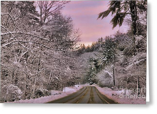 Sunrise Greeting Cards - snowy sunrise in Granville MA Greeting Card by HD Connelly