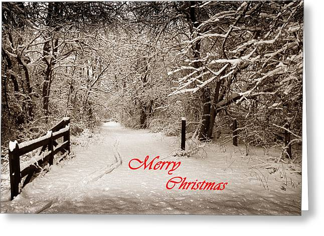 Christmas Greeting Photographs Greeting Cards - Snowy Trail Sepia Merry Christmas Greeting Card by Skip Willits