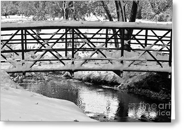 Snow Tree Prints Greeting Cards - Snowy Walking Bridge in Black and White Greeting Card by James BO  Insogna