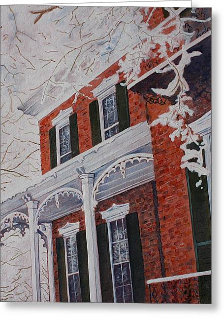 Patsy Sharpe Paintings Greeting Cards - Snowy Yesteryear Greeting Card by Patsy Sharpe