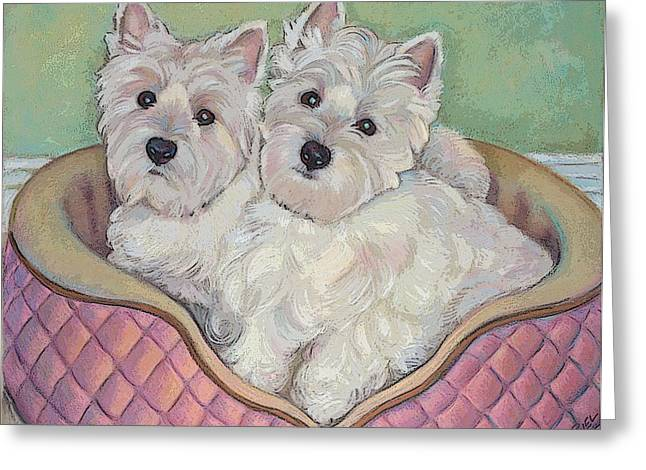 Westies Mixed Media Greeting Cards - Snuggle Sisters Note Card Greeting Card by Jane Oriel